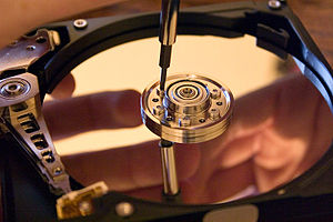 Computer data storage - A hard disk drive with protective cover removed
