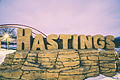 Hastings, Minnesota - Hastings Bridge and 'Hastings' sculpture in Levee Park (24039743904).jpg