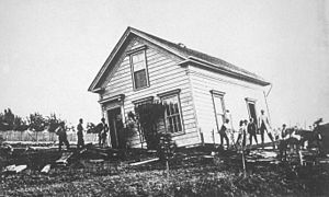 1868 Hayward earthquake - Image: Hayward earthquake 1868 damaged building 2