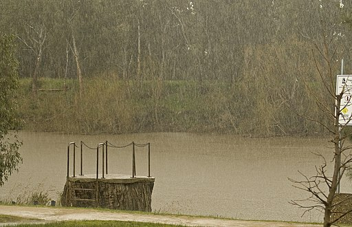 Heavy rain falling over the Murrumbidgee River