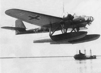 Heinkel He 115 - A German Heinkel He 115B of 1./Küstenfliegergruppe 206 on a crane.
