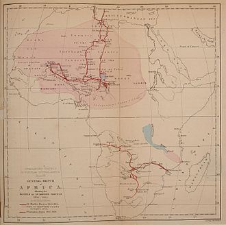 Heinrich Barth - Route of Barth's journey through Africa between 1850 and 1855