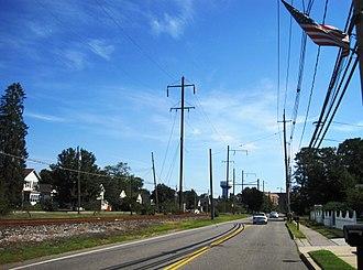 Helmetta, New Jersey - Looking north along Main Street (CR 615)
