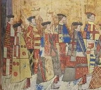 Henry Courtenay, 1st Marquess of Exeter - Henry Courtenay, KG, shown 2nd from left wearing a mantle displaying his arms, detail from procession of Garter Knights in the Black Book of the Garter, c.1535, Royal Collection, Windsor