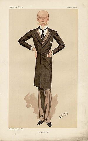 "Herbert Naylor-Leyland - ""Colchester"". Caricature by Spy published in Vanity Fair in 1894."
