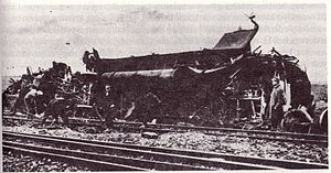 Herceghalom rail crash - Destroyed carriages of passenger train No 1308