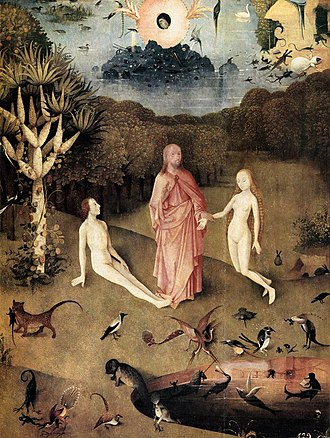 The Garden of Earthly Delights - Detail from the left hand panel, showing the pre-incarnate Christ blessing Eve before she is presented to Adam