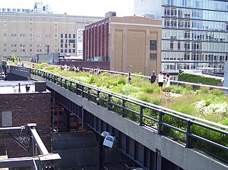 urban park on an elevated section of a disused railroad in Manhattan, New York