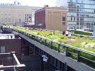 High Line - The High Line, an aerial greenway, at 20th Street looking downtown; the vegetation was chosen to pay homage to the wild plants that had colonized the abandoned railway before it was repurposed