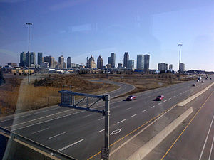 Ontario Highway 403 - A view of downtown Mississauga as seen atop Highway 403
