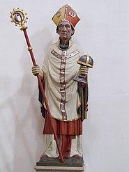 Godehard as Bishop of Hildesheim with staff and Hildesheim Marian reliquary (St. Godehard Basilica, Hildesheim, 19th century)