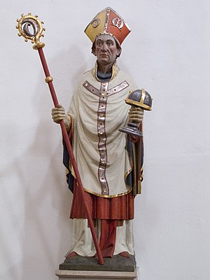 Gotthard of Hildesheim - St. Gotthard as bishop, with the Hildesheim St. Mary relic receptacle; Basilica St. Godehard, Hildesheim