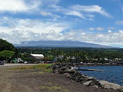 Hilo town and Hilo Bay from Bayfront Drive.