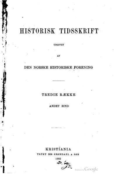 File:Historisk Tidsskrift (Norway), Tredie Række, Andet Bind.djvu