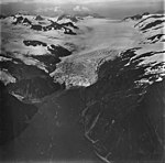 Holgate Glacier, terminus of tidewater glacier, mountain glaciers on the surrounding mountainsides with bergschrund, September 4 (GLACIERS 6560).jpg