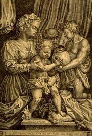 Hieronymus Cock - The Holy Family with St. John the Baptist, by Hieronymus Cock (after Andrea del Sarto)