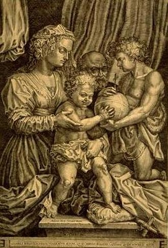 Hieronymus Cock - The Holy Family with St. John the Baptist, c. 1560, by Hieronymus Cock after Andrea del Sarto