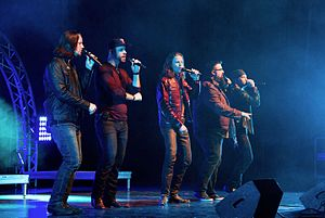 Home Free (group) - Home Free, from left to right: Tim Foust, former member Chris Rupp, Austin Brown, Rob Lundquist, Adam Rupp, performing in Iowa, February 2016
