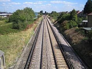 Suburban electric railway line in England branching off the Waterloo to Reading line