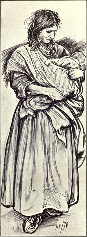 Sien (Van Gogh series) - Hubert von Herkomer - Gipsy Woman with Child, 1870 (Herkomer's first work for The Graphic)
