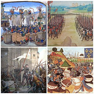 Series of conflicts and wars between England and France during the 14th and 15th-century