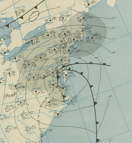 Map depicting isobars and fronts associated with a low-pressure area