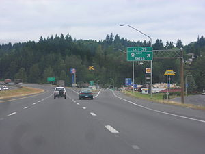 Washington State Route 4 - I-5 northbound at its interchange with SR 4 in Kelso