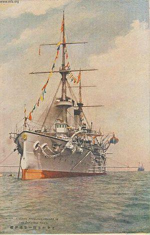 Japanese cruiser Tokiwa - At anchor in a 1905 postcard
