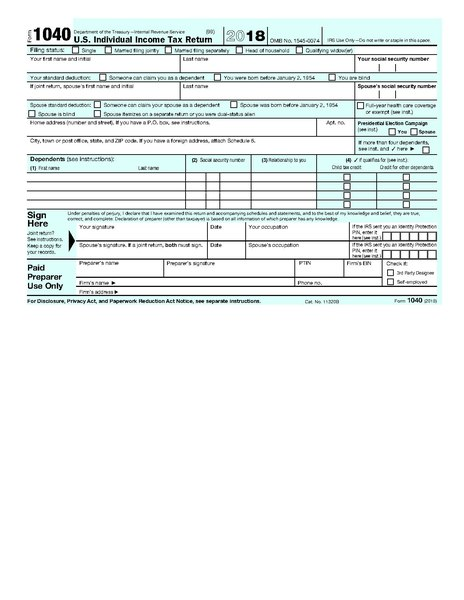page1-464px-IRS_Form_1040%2C_2018.pdf  Ez Form Written Example on difference between 1040, georgia tax, completed example, print out, how do you fill out, how fill, filled out example, tax table 2019, line 5 worksheet,