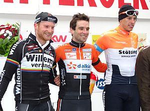 2015 UCI Europe Tour - Kattekoers podium: Joeri Calleeuw (2nd), Baptiste Planckaert (1st) and Nils Politt (3rd).