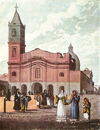 Santo Domingo convent - Depiction of the convent by Emeric Essex Vidal, 1817.