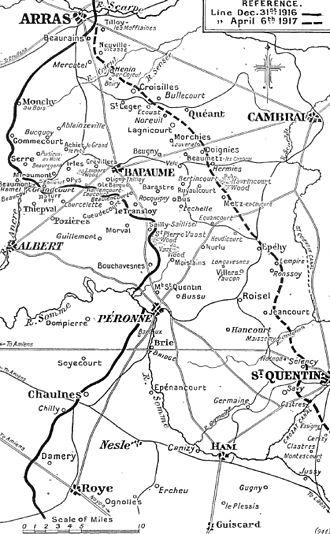 35th Division (United Kingdom) - Illustration of the German retirement to the Siegfriedstellung (Hindenburg Line), 1917