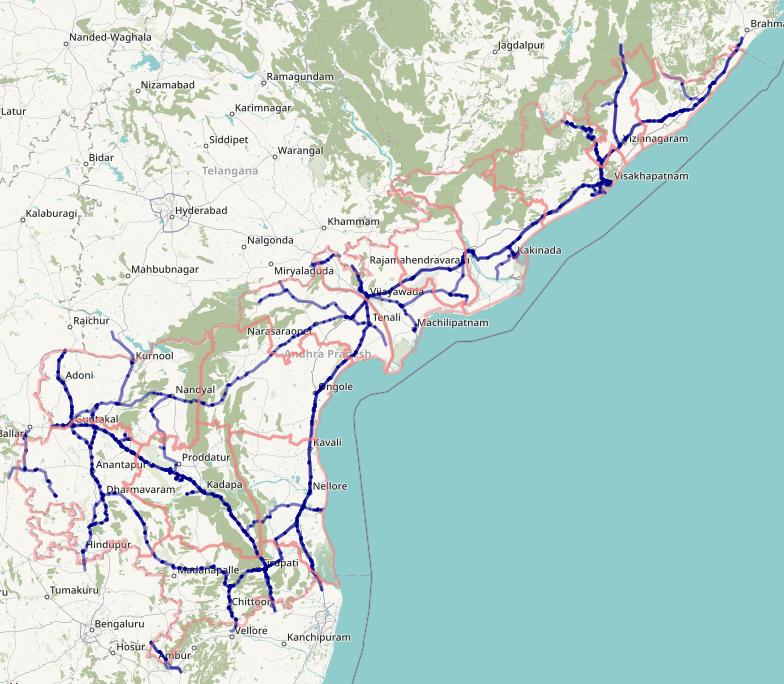 India Andhra Pradesh Rail network