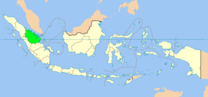 Map of Indonesia showing Riau province