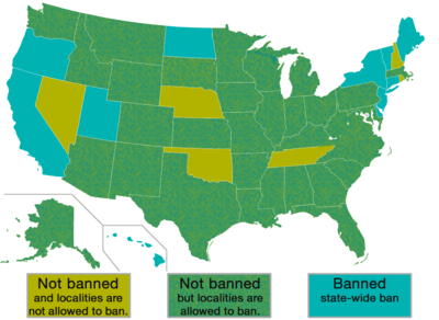 Indoor vaping laws by-state in the US, rough summary.
