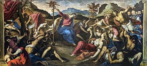 Interior of Chiesa dei Gesuiti (Venice) - sacristy - Il serpente di bronzo by Palma il Giovane.jpg