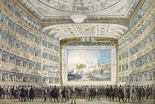 Tegning som viser interiøret i et teater i italiensk stil.