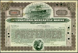 International Mercantile Marine Co. - Preferred share of the International Mercantile Marine Company, issued 21. November 1922