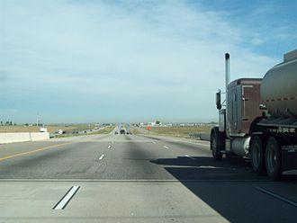 Interstate Highway standards - An Interstate Highway bridge with an asphalt overlay