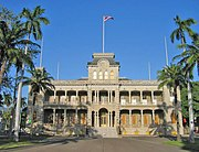 ʻIolani Palace in Honolulu, formerly the residence of the Hawaiian monarch, was the capitol of the Republic of Hawaii.