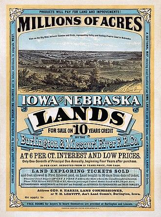 History of Nebraska - A land offer from the Burlington and Missouri River Railroad, 1872