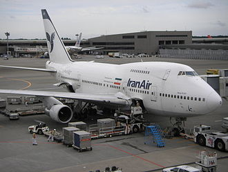 Transport in Iran - Iran Air Boeing 747SP at Narita International Airport