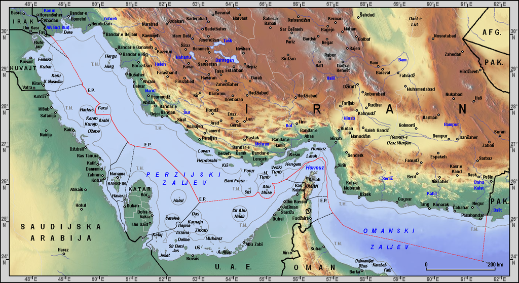 Iranian borders in Omans and Persian Gulf (Cro)