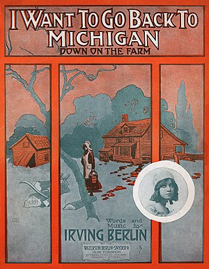 I Want To Go Back To Michigan - Cover page to the first edition printing.