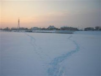 Ishim River - The river Ishim in Astana, a popular thoroughfare in the winter when it is frozen over.