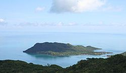 Isla Santa Catalina from Isla de Providencia.  The bay between the two forms the main harbor.