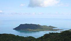 Isla Santa Catalina from Isla de Providencia. The bay between the two forms the main harbor.