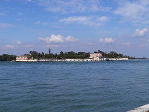 Sant'Andrea (Venetian Lagoon) - View of the Island of Sant'Andrea from the Porto di San Nicolò at the Lido of Venice
