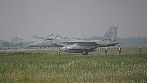 Gifu Air Field - A Mitsubishi F-15J of the Air Development and Test Wing prepares to take off at Gifu Air Field (2017)