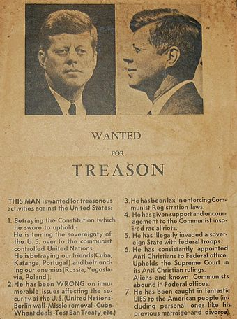 A handbill circulated on November 21, 1963 in Dallas, one day before the assassination of John F. Kennedy - Assassination of John F. Kennedy